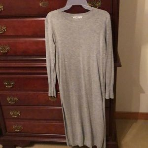 Long gray sweater size small - splits up sides